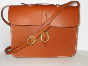 Handstitched leather satchel